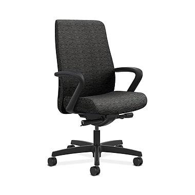 HON® Endorse Mid-Back Task Chair, Fabric Outer Back, Built-In Lumbar, Synchro-Tilt, Seat Glide, Fixed Arms, Attire Onyx Fabric