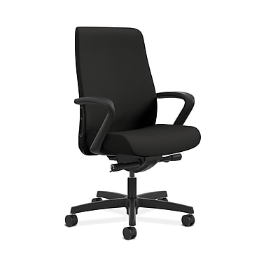 HON® Endorse Mid-Back Task Chair, Fabric Outer Back, Built-In Lumbar, Synchro-Tilt, Fixed Arms, Centurion Black Fabric