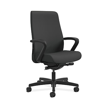 HON® Endorse Mid-Back Task Chair, Fabric Outer Back, Built-In Lumbar, Synchro-Tilt, Seat Glide, Fixed Arms, Iron Ore Fabric