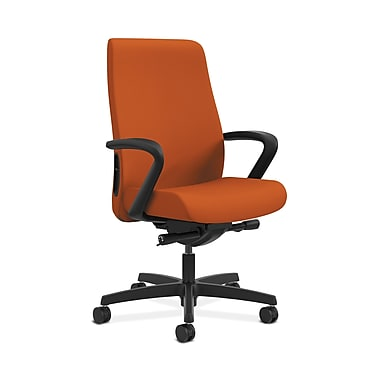 HON® Endorse Mid-Back Task Chair, Fabric Outer Back, Built-In Lumbar, Synchro-Tilt, Seat Glide, Fixed Arms, Tangerine Fabric