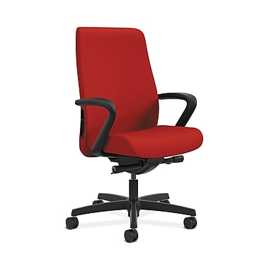 HON® Endorse Mid-Back Task Chair, Fabric Outer Back, Built-In Lumbar, Synchro-Tilt, Seat Glide, Fixed Arms, Tomato Fabric