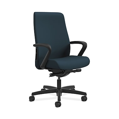 HON® Endorse Mid-Back Task Chair, Fabric Outer Back, Built-In Lumbar, Synchro-Tilt, Seat Glide, Fixed Arms, Cerulean Fabric