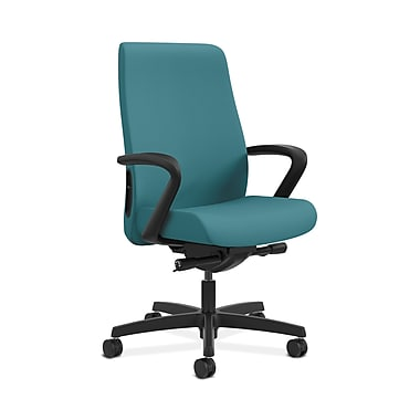 HON® Endorse Mid-Back Task Chair, Fabric Outer Back, Built-In Lumbar, Synchro-Tilt, Seat Glide, Fixed Arms, Glacier Fabric