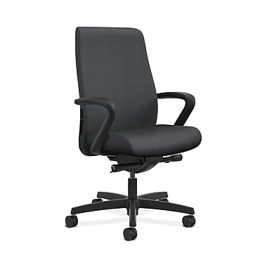 HON® Endorse Mid-Back Task Chair, Fabric Outer Back, Built-In Lumbar, Synchro-Tilt, Seat Glide, Fixed Arms, Inertia Onyx Fabric