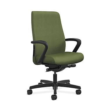 HON® Endorse Mid-Back Task Chair, Fabric Outer Back, Built-In Lumbar, Synchro-Tilt, Seat Glide, Fixed Arms, Clover Fabric