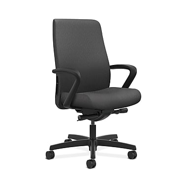 HON® Endorse Mid-Back Task Chair, Built-In Lumbar, Fixed Arms, Tectonic Charcoal Fabric