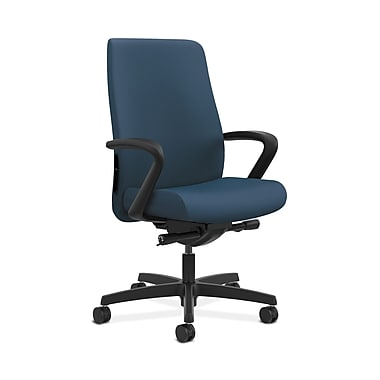 HON® Endorse Mid-Back Task Chair, Fabric Outer Back, Built-In Lumbar, Synchro-Tilt, Seat Glide, Silvertex Vinyl Jet