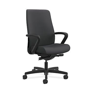 HON® Endorse Mid-Back Task Chair, Built-In Lumbar, Fixed Arms, Silvertex Vinyl Carbon