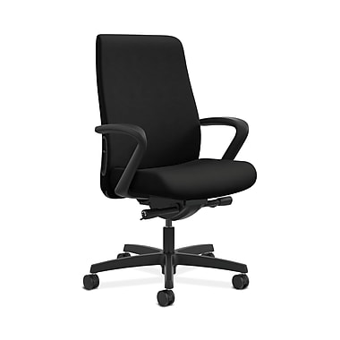 HON® Endorse Mid-Back Task Chair, Built-In Lumbar, Fixed Arms, Contourett Polyurethane Black
