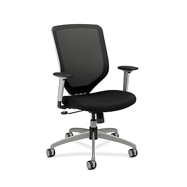 HON Boda Mesh Back Task Chair, Synchro-Tilt, Adjustable Arms, Black Sandwich Mesh Seat, Platinum Frame