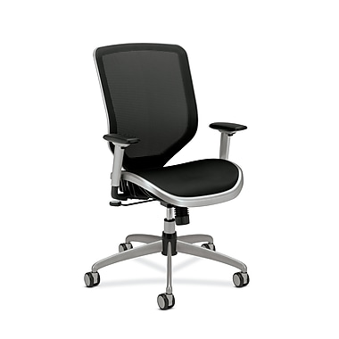 HON Boda Mesh Back and Seat Chair, Synchro-Tilt, Adjustable Arms, Black Mesh, Platinum Frame