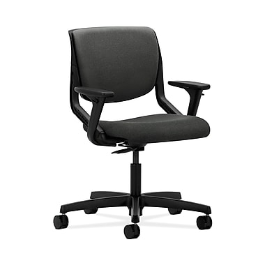 HON® Motivate Task Chair, Upholstered Back, Adjustable Arms, Onyx Shell, Grey Fabric