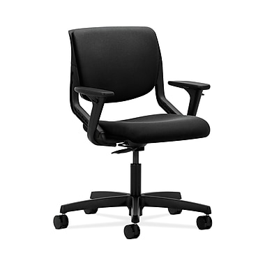 HON® Motivate Task Chair, Upholstered Back, Adjustable Arms, Onyx Shell, Centurion Black Fabric