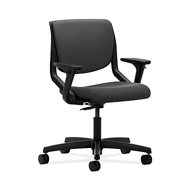 HON® Motivate Task Chair, Upholstered Back, Adjustable Arms, Onyx Shell, Iron Ore Fabric