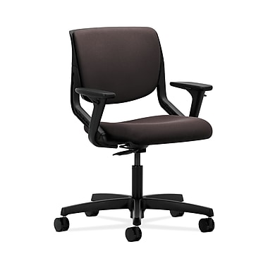 HON® Motivate Task Chair, Upholstered Back, Adjustable Arms, Onyx Shell, Espresso Fabric