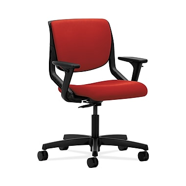 HON® Motivate Task Chair, Upholstered Back, Adjustable Arms, Onyx Shell, Tomato Fabric
