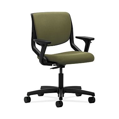 HON® Motivate Task Chair, Upholstered Back, Adjustable Arms, Onyx Shell, Olivine Fabric