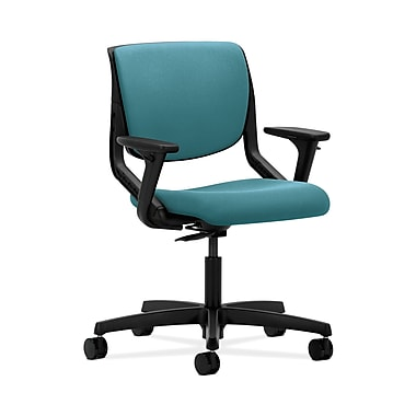 HON® Motivate Task Chair, Upholstered Back, Adjustable Arms, Onyx Shell, Glacier Fabric