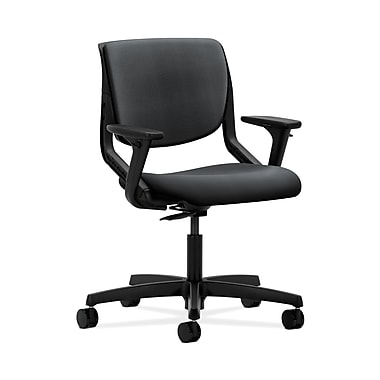 HON® Motivate Task Chair, Upholstered Back, Adjustable Arms, Onyx Shell, Inertia Onyx Fabric
