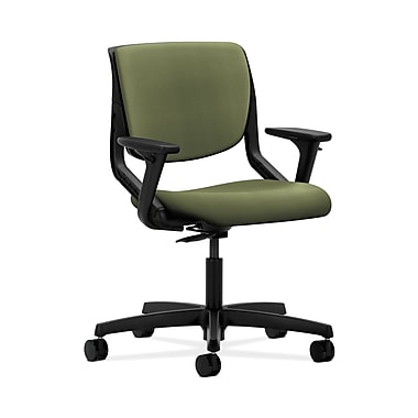 HON® Motivate Task Chair, Upholstered Back, Adjustable Arms, Onyx Shell, Clover Fabric