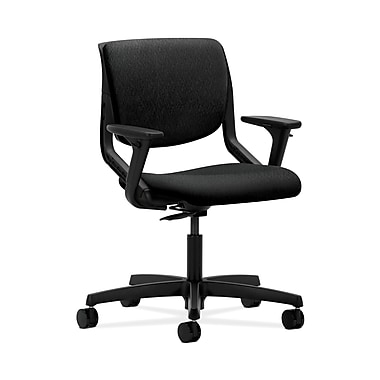 HON® Motivate Task Chair, Upholstered Back, Adjustable Arms, Onyx Shell, Tectonic Black Fabric