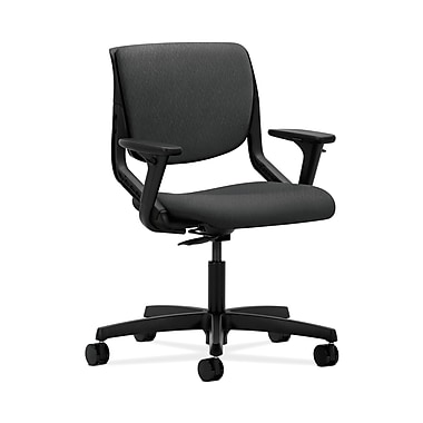 HON® Motivate Task Chair, Upholstered Back, Adjustable Arms, Onyx Shell, Tectonic Charcoal Fabric
