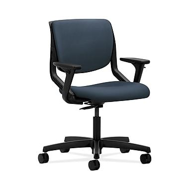 HON® Motivate Task Chair, Upholstered Back, Adjustable Arms, Onyx Shell, Silvertex Vinyl Jet