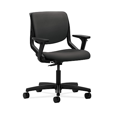 HON® Motivate Task Chair, Upholstered Back, Adjustable Arms, Onyx Shell, Carbon Fabric