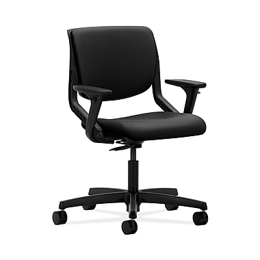 HON® Motivate Task Chair, Upholstered Back, Adjustable Arms, Onyx Shell, Black Polyurethane