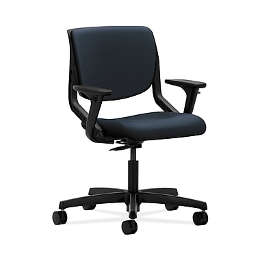HON® Motivate Task Chair, Upholstered Back, Adjustable Arms, Onyx Shell, Navy Fabric