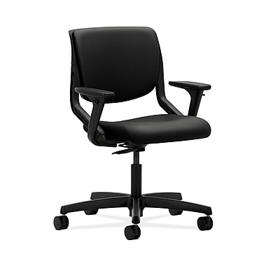 HON® Motivate Task Chair, Upholstered Back, Adjustable Arms, Onyx Shell, Whisper Vinyl Black
