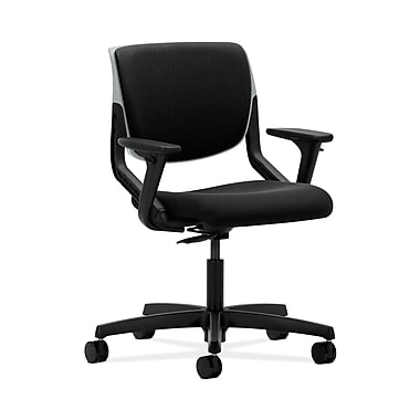 HON® Motivate Task Chair, Upholstered Back, Adjustable Arms, Platinum Shell, Confetti Black Fabric
