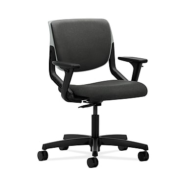 HON® Motivate Task Chair, Upholstered Back, Adjustable Arms, Platinum Shell, Grey Fabric