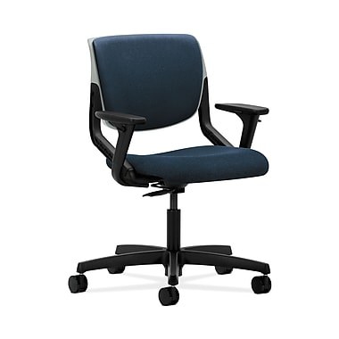 HON® Motivate Task Chair, Upholstered Back, Adjustable Arms, Platinum Shell, Confetti Blue Fabric
