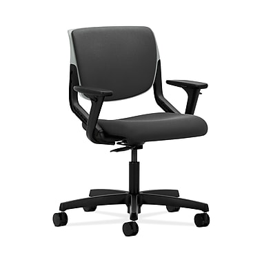 HON® Motivate Task Chair, Upholstered Back, Adjustable Arms, Platinum Shell, Iron Ore Fabric