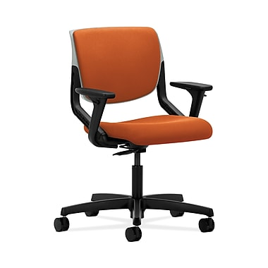 HON® Motivate Task Chair, Upholstered Back, Adjustable Arms, Platinum Shell, Tangerine Fabric