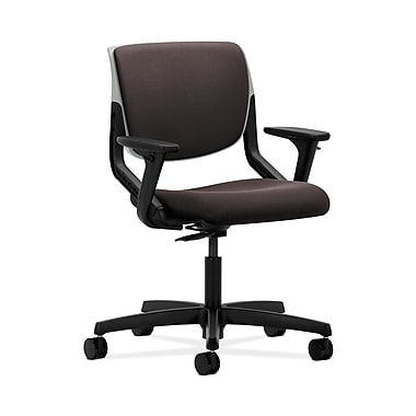 HON® Motivate Task Chair, Upholstered Back, Adjustable Arms, Platinum Shell, Espresso Fabric