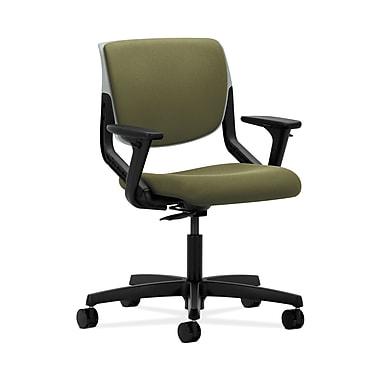 HON® Motivate Task Chair, Upholstered Back, Adjustable Arms, Platinum Shell, Olivine Fabric