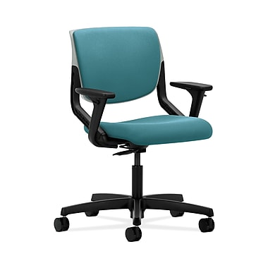 HON® Motivate Task Chair, Upholstered Back, Adjustable Arms, Platinum Shell, Glacier Fabric