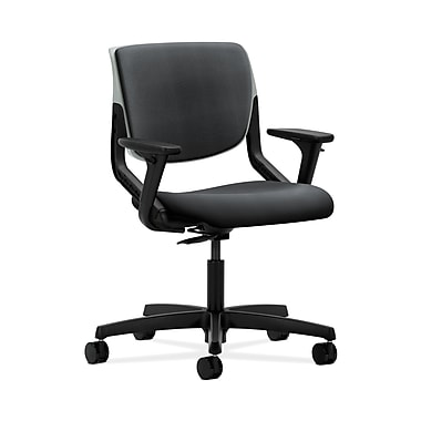HON® Motivate Task Chair, Upholstered Back, Adjustable Arms, Platinum Shell, Inertia Onyx Fabric