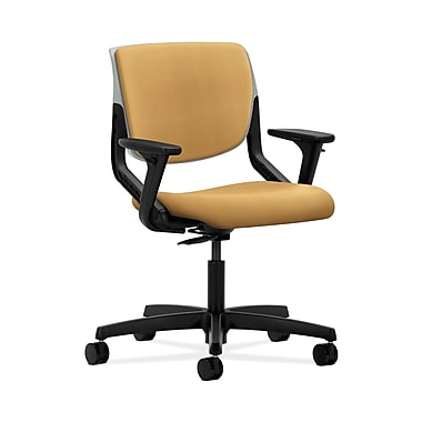 HON® Motivate Task Chair, Upholstered Back, Adjustable Arms, Platinum Shell, Mustard Fabric