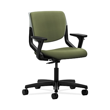 HON® Motivate Task Chair, Upholstered Back, Adjustable Arms, Platinum Shell, Clover Fabric