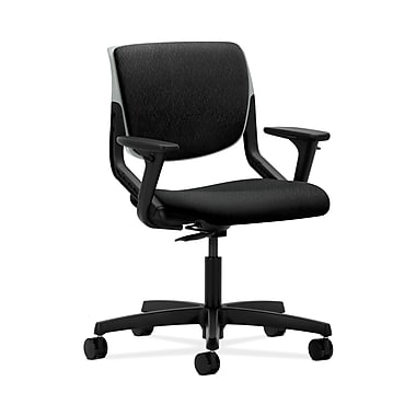 HON® Motivate Task Chair, Upholstered Back, Adjustable Arms, Platinum Shell, Tectonic Black Fabric