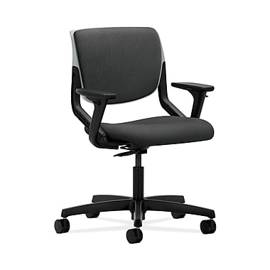 HON® Motivate Task Chair, Upholstered Back, Adjustable Arms, Platinum Shell, Tectonic Charcoal Fabric