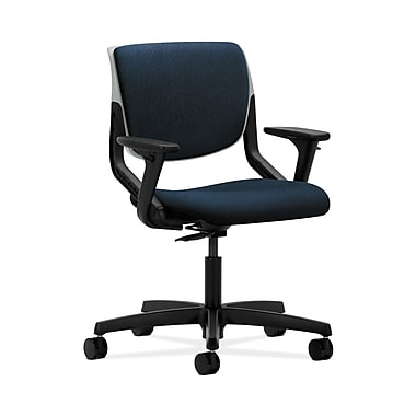 HON® Motivate Task Chair, Upholstered Back, Adjustable Arms, Platinum Shell, Mariner Fabric