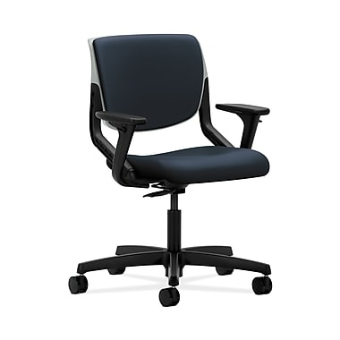 HON® Motivate Task Chair, Upholstered Back, Adjustable Arms, Platinum Shell, Navy Fabric