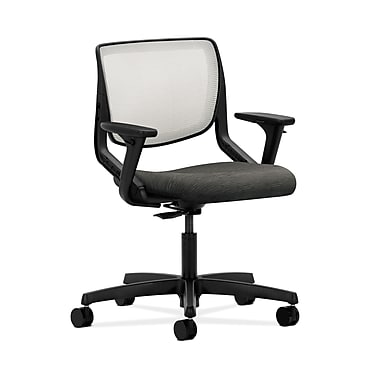 HON® Motivate Task Chair, Fog ilira®-stretch Back, Adjustable Arms, Attire Black Fabric
