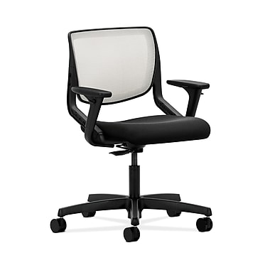 HON® Motivate Task Chair, Fog ilira®-stretch Back, Adjustable Arms, Centurion Black Fabric