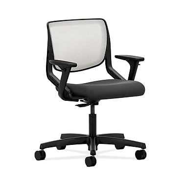 HON® Motivate Task Chair, Fog ilira®-stretch Back, Adjustable Arms, Iron Ore Fabric