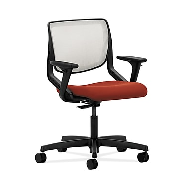 HON® Motivate Task Chair, Fog ilira®-stretch Back, Adjustable Arms, Poppy Fabric